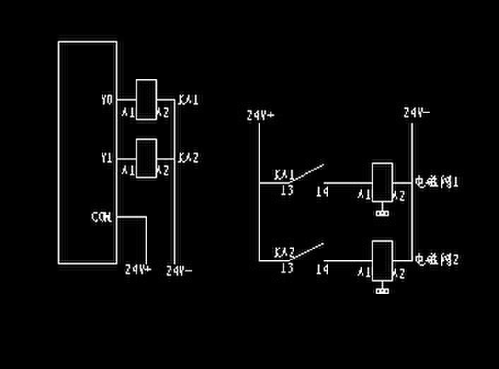三菱plc通过继电器控制电磁阀接线图片