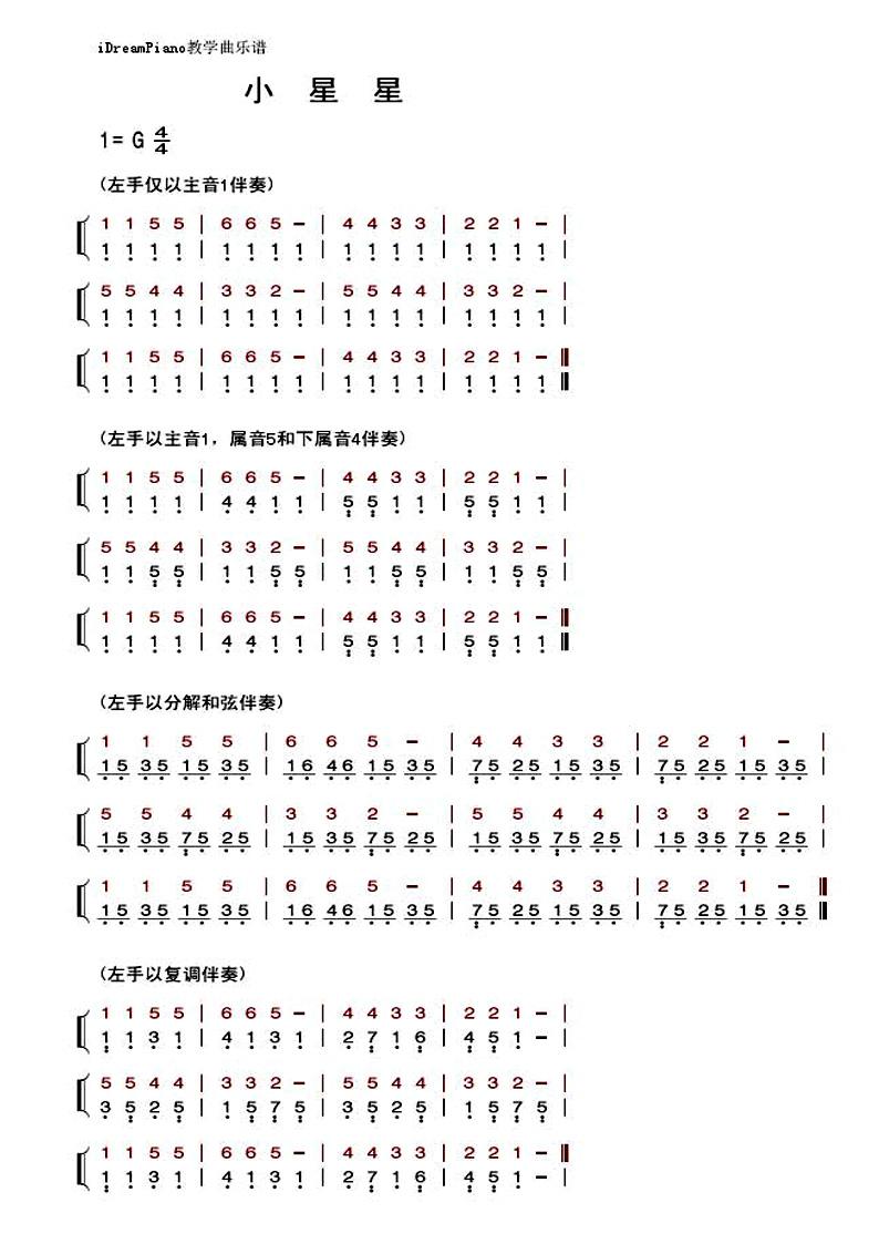 求钢琴曲《小星星》简谱(最简单的那类)图片
