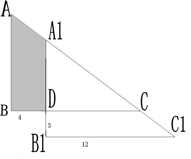 下图是两个直角三角形重叠在一起,按图标数字,求出阴影部分的面积图片