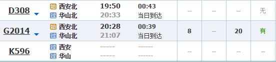 西安到华山有火车吗