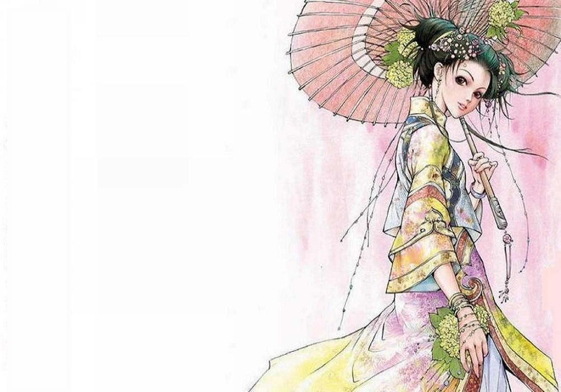 求类似以下这种手绘古装美女图片的出处?