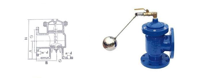 液压水位控制阀由阀杆,阀座,弹簧,上阀体,下阀体,针阀,膜片,铜管,浮球