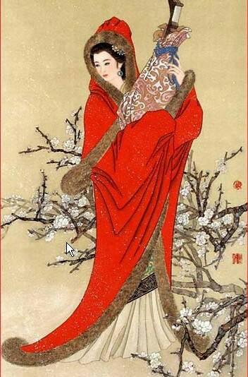 谁有古风凄美红衣女子图?