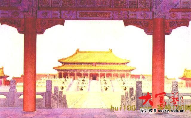 求古风手绘住宅皇宫背景图片