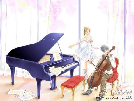 求一个男生或是一个女生弹钢琴的卡通图片不要边框