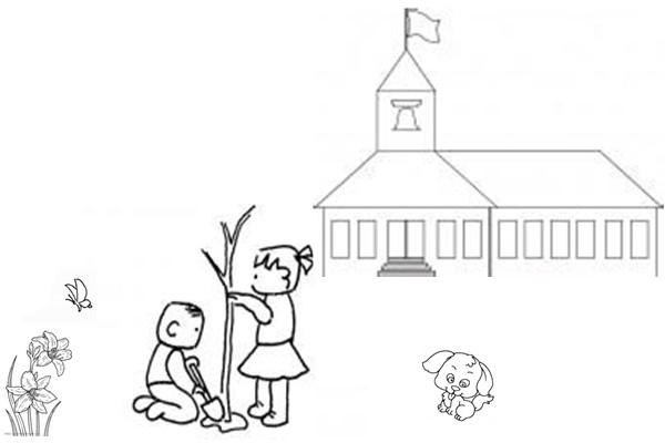 画一张简笔画 叫愉快的一天 需要包含一个建筑 两个人物 两个植物 两图片