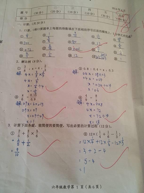 小学六年级下册期中试卷答案是多少高清图片