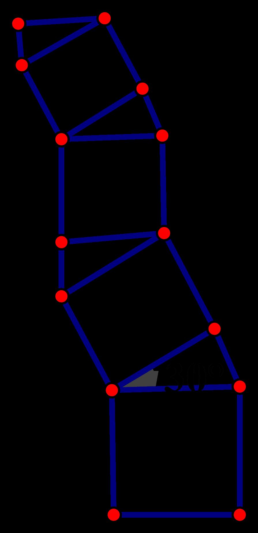 一棵由正方形和含30°角的rt三角形按一定规律长成的勾股树图片