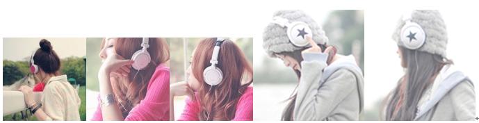 求侧面戴耳机的女生qq头像