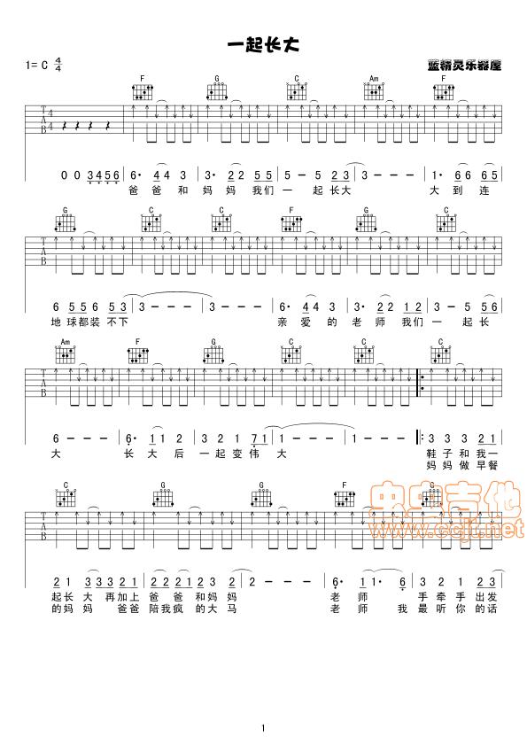 秦勇《一起长大》吉他谱