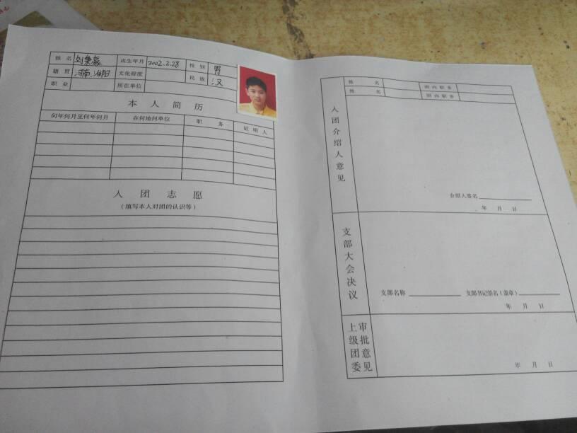 高中入团申请书模板怎么写