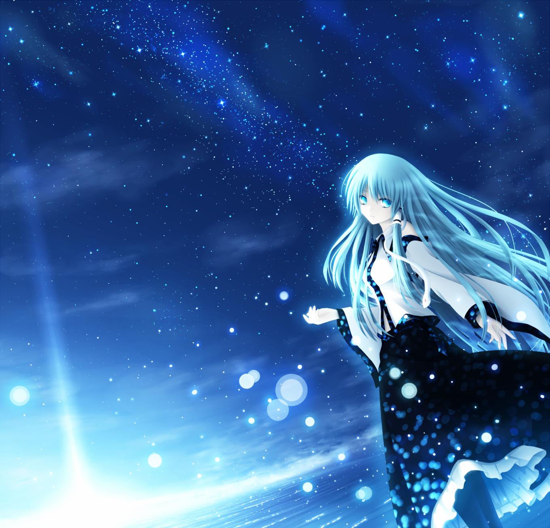 蓝色的背景动漫少女