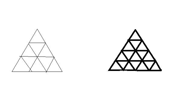 如何数下面的三角形的个数 2013-08-05 数字三角形 2013-10-25 三角形图片