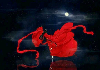 求古装红衣女子背影图