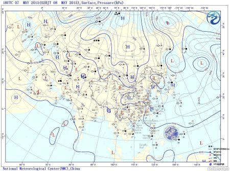 5月8日8时修正海平面气压图图片