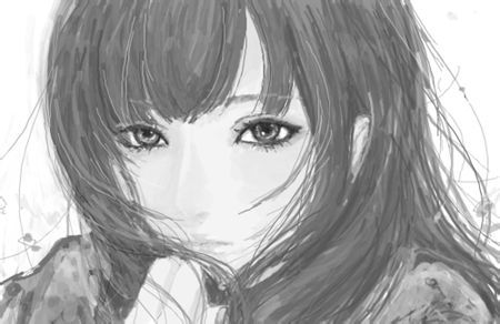 给我发几张素描画的少女!