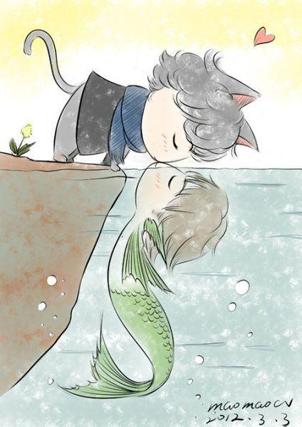 猫和鱼亲吻的卡通图片,寻求彩色版