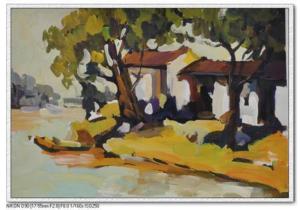 乡村风景水粉画图片:小桥流水水粉写生作品(5) 七幅很特色的风景