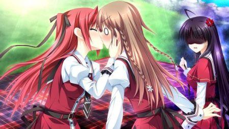 动漫女生百合接吻图片