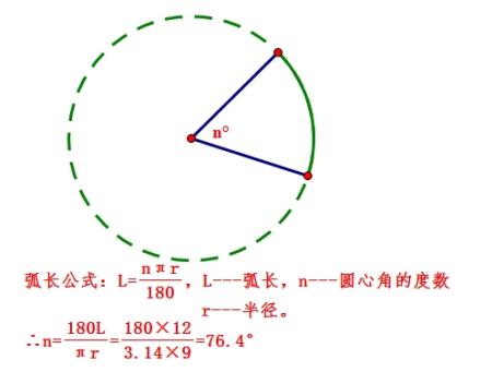 已知圆的半径为9厘米,圆心角所对的弧长为12厘米,那么图片