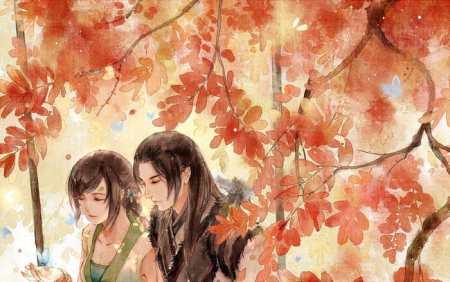 求男生摸着女生的头发,旁边还有几只鸟的古风图片图片