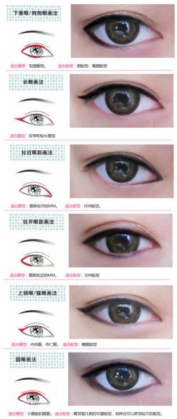 眼线的画法也是有所不同的哦~另外可以根据自己的图片