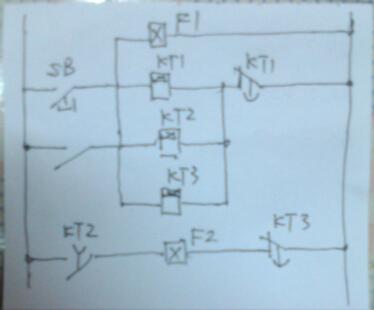 说下工作步骤,点按钮开关启动,1电磁阀同时得电保持3秒的同时延时图片