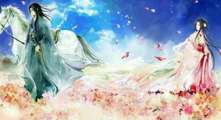求白衣男子与红衣女子古风图片(600×800)白衣男子高图片