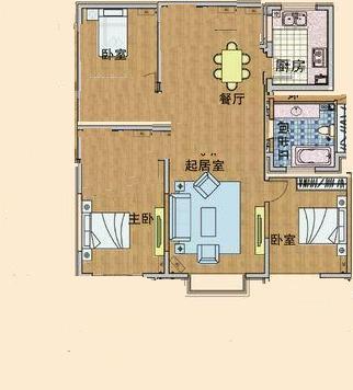 农村108平方房子设计 三室两厅 (322x356)-由于老房子太冷
