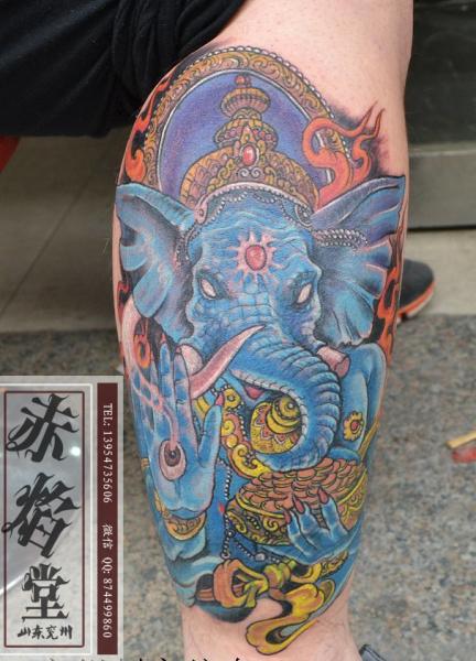 满背印度象神纹身多钱图片