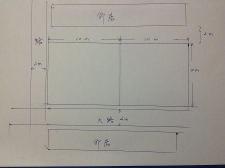 地基是坐南朝北,面积20*10共200平方,但是从中间分成两部分,各10*10m图片