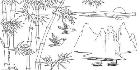 怎样用铅笔画熊猫吃的竹子,图片图片