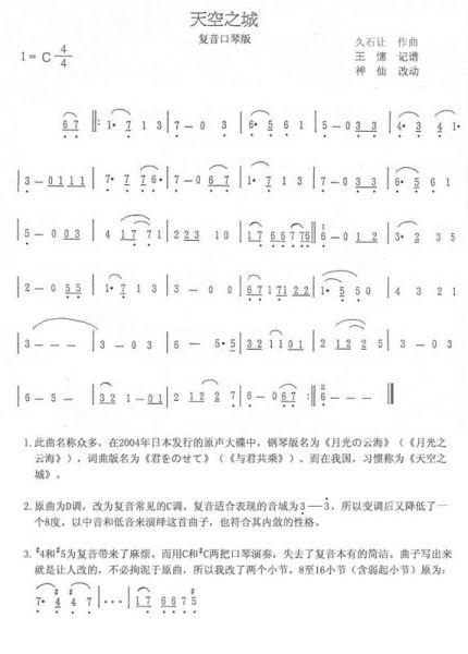 跪求24孔c调复音口琴的各种简谱要能正经吹有好听的想图片