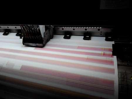 天彩户外写真机, 打印测试条带出一条色带,喷头出栈时