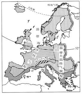 """(2)欧洲西部气候深受海洋的影响,; 读""""欧洲西部地区地形与气候分布图图片"""