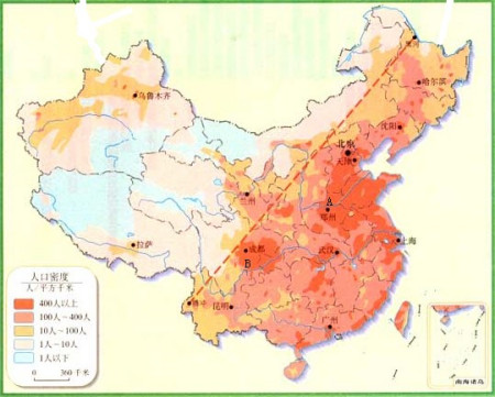 下图是我国人口密度分布图,据图回答