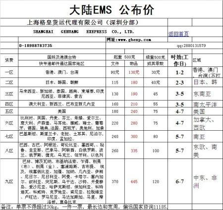 价格不一样,运费计算方法也不一样. 国际物流(格皇)的报价表,ems,4.