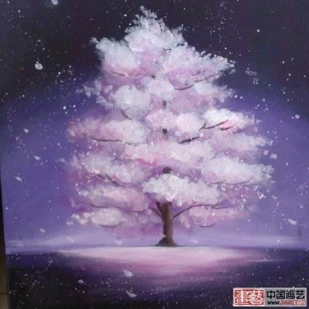 有谁知道下面的樱花树画图片