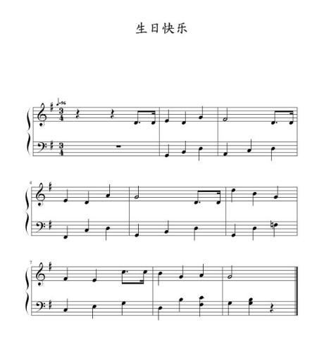 简单又好听的生日快乐的钢琴谱左右手都要不要跨八度的啊急需!图片