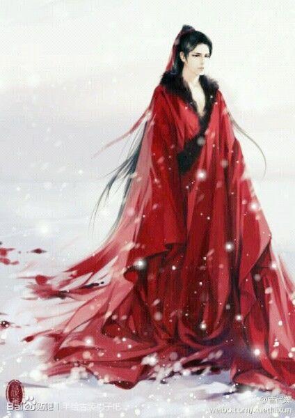求手绘古装红衣妖孽高傲美男图图片