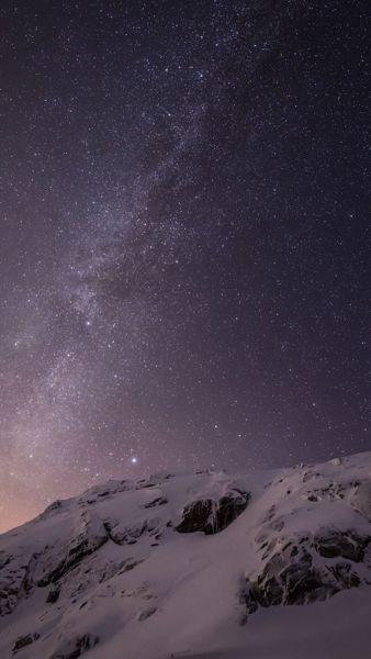 求苹果手机默认星空雪山壁纸,要高清的谢谢图片