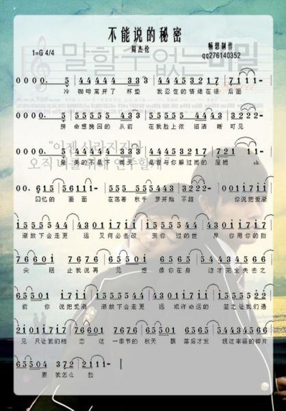 有谁知道 不能说的秘密>里面所有钢琴曲的数字简谱?急图片