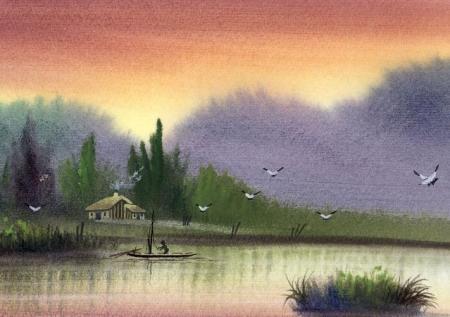有没有简单易画的水彩画?最好是风景的图片