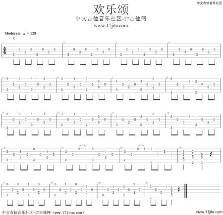 我是吉他新手 请问有人能帮忙解释一下《欢乐颂》的谱图片