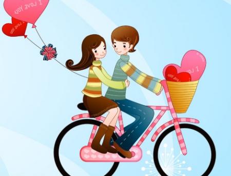 唯美卡通人物图片,要是一男的骑自行车载着女生的,最好是心相印面图片