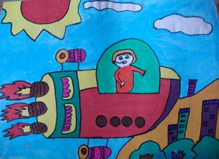 儿童太空科幻画