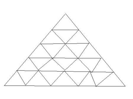 由25个小三角形组成的大三角形有多少个三角形?图片