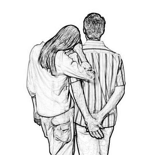 谁能给我一张唯美的情侣背影素描图本人要临摹带风景-素描少女背影图片