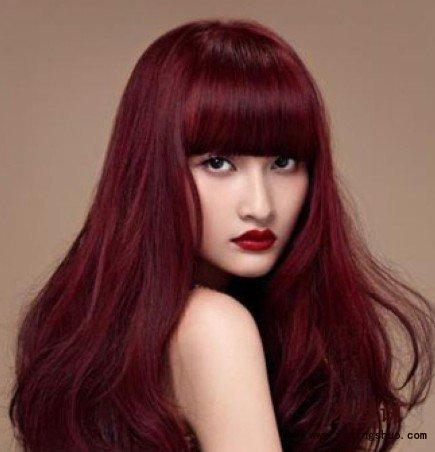 红色头发发型图片