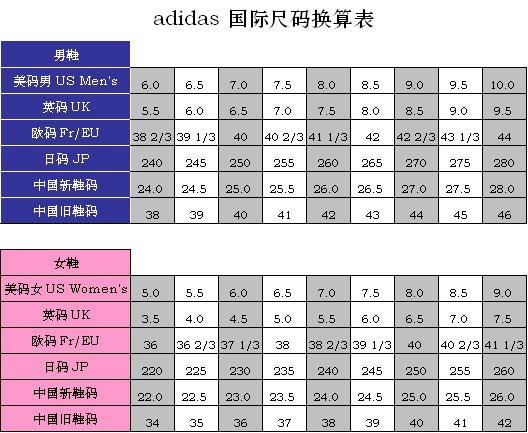 阿迪达斯鞋码 adidas鞋码对照表 阿迪达斯官网 阿迪达斯码数